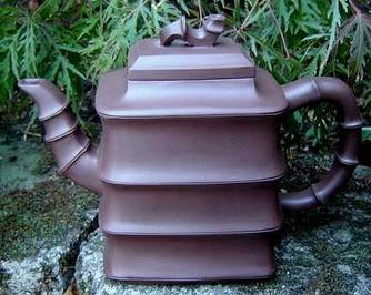 Lu Yu Bamboo Yixing Zisha Clay Teapot, Brown